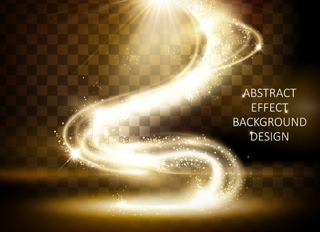 Ilustración de Glittering golden light effect, magical wavy sparkling light isolated on transparent background, 3d illustration - Imagen libre de derechos