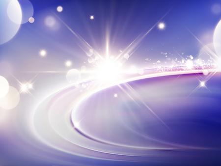 Ilustración de Purple light effect background, glittering and sparkling elements in 3d illustration - Imagen libre de derechos