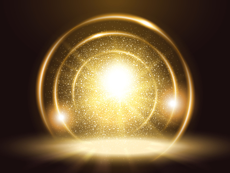 Ilustración de Sparkling particles and rings, attractive golden color glitter element for design uses - Imagen libre de derechos