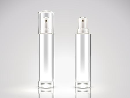Ilustración de Pearl white spray bottle mockup, blank cosmetic bottle set in 3d illustration - Imagen libre de derechos
