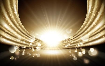 Ilustración de Glittering golden satin background, sparkling decorative particles elements, 3d illustration - Imagen libre de derechos