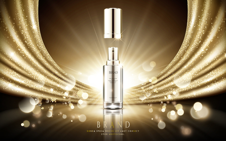 Illustration pour Golden cosmetic ads, elegant silver spray bottle with sparkling gold satin and particle bokeh background in 3d illustration - image libre de droit