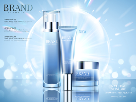 Ilustración de Cosmetic set ads, sky blue package design on light blue background with glittering bokeh and bubbles in 3d illustration - Imagen libre de derechos