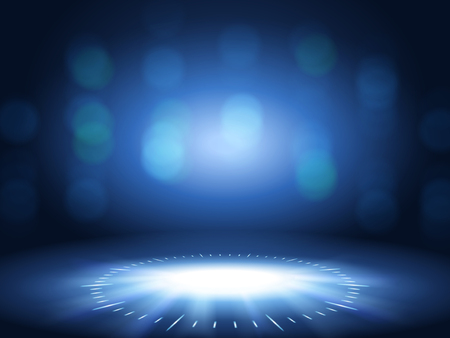 Ilustración de Glittering bokeh background, blue color decorative wallpaper for design uses. - Imagen libre de derechos