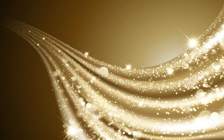 Ilustración de Wavy golden satin, glittering and sparkling decorative particles elements, 3d illustration - Imagen libre de derechos