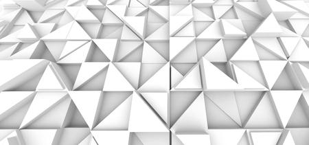 Photo pour Geometric triangle background, white 3d render relief wallpaper for design uses - image libre de droit