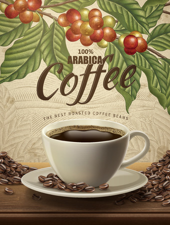 Ilustración de Arabica coffee ads, realistic black coffee and beans in 3d illustration with retro coffee plants and field scenery in etching shading style - Imagen libre de derechos