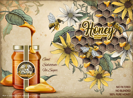 Ilustración de Natural honey ads design template vector illustration - Imagen libre de derechos