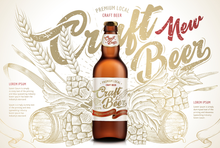 Illustrazione per Craft beer ads design template vector illustration - Immagini Royalty Free