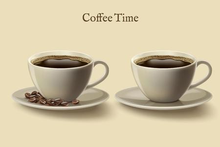 Illustration pour Black coffee in cups vector illustration - image libre de droit