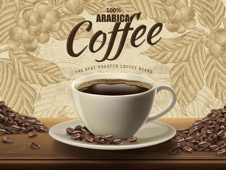 Illustration pour Arabica coffee ads design vector illustration - image libre de droit