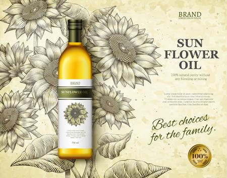 Ilustración de Sunflower oil ads design vector illustration - Imagen libre de derechos