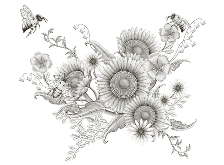 Illustration pour Retro elegant floral design, etching shading sunflowers and bees design on white background - image libre de droit