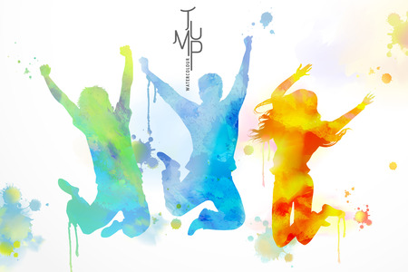 Illustration for Watercolor jumping people, young boys and girls in victory pose with watercolor paint strokes - Royalty Free Image