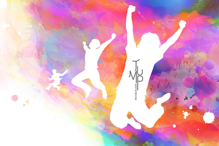Illustration pour Watercolor jump man, man in victory pose with watercolor paint strokes - image libre de droit