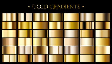 Illustration pour Gold color gradient, set of abstract metallic reflective texture for design uses in 3d illustration - image libre de droit