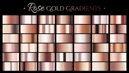 Ilustración de Rose gold color gradient, set of abstract metallic reflective texture for design uses in 3d illustration - Imagen libre de derechos