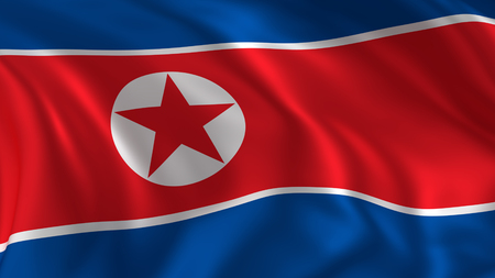 Photo for North korea flag, closeup look at waving national flag in 3d rendering - Royalty Free Image