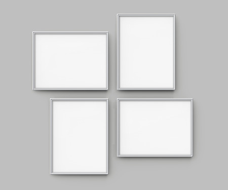 Photo pour Grey picture frame, 3d render thin frames collection with empty space for decorative uses - image libre de droit