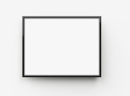 Photo for Black picture frame, 3d render thin frame with empty space for decorative uses - Royalty Free Image
