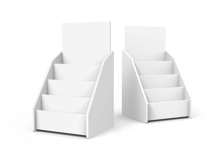 Photo pour Cardboard tabletop rack, 3d render white stand set for brochures or sheets - image libre de droit