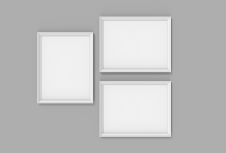 Foto de Blank picture frame mockup, 3d render white frames set on gray wall with empty space for design uses - Imagen libre de derechos