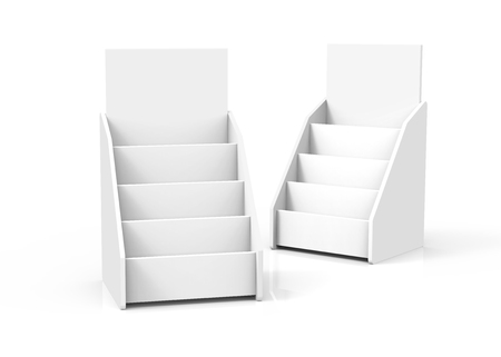 Foto de Cardboard tabletop rack, 3d render white stand set for brochures or sheets - Imagen libre de derechos