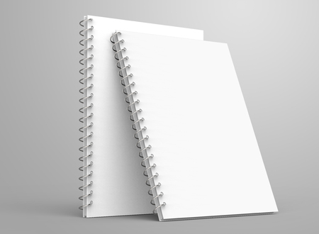Photo for Blank notepad mockup, 3d render stand spiral notebooks set with empty space for design uses - Royalty Free Image