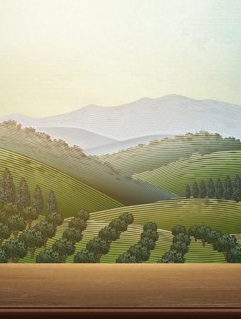 Illustration pour Orchard scene with a green field landscape - image libre de droit