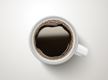 Illustration pour Top view of a cup of black coffee illustration - image libre de droit