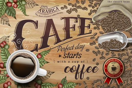 Ilustración de Cafe poster with black coffee top view, coffee cherries and beans background - Imagen libre de derechos
