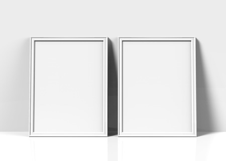 Photo for White picture frame, 3d render thin frames set with empty space for decorative uses, leaning on wall - Royalty Free Image