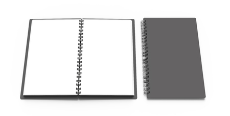 Photo pour Spiral notebook in 3d render, open notebooks set with empty space for design uses - image libre de droit