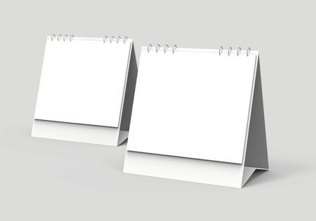 Photo pour Blank desk calendar, 3d render calendar mockup with empty space for design uses, square design set - image libre de droit