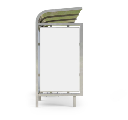 Photo pour 3D render bus shelter, blank copy space for advertising or promotional content, bus station billboard in side view - image libre de droit