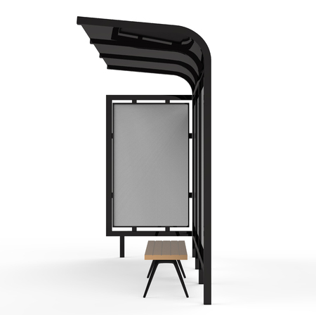 Photo pour 3D render bus shelter, blank copy space for advertising or promotional content, side view bus station billboard in black - image libre de droit