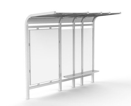 Photo pour 3D render bus shelter, blank copy space for advertising or promotional content, bus station billboard - image libre de droit