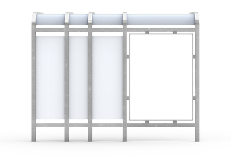 Photo pour 3D render bus shelter, blank copy space for advertising or promotional content, back view of bus station billboard in silver - image libre de droit