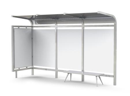 Photo pour 3D render bus shelter, blank copy space for advertising or promotional content, bus station billboard - image libre de droit