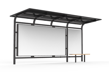 Photo pour 3D render bus shelter, blank copy space for advertising or promotional content, bus station billboard in black - image libre de droit