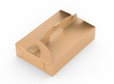 Foto de Kraft box with handle, elevated view of gift or food carton package in 3d render for design uses - Imagen libre de derechos