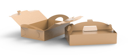 Photo pour Kraft box with handle, gift or food carton package set in 3d render for design uses, elevated view - image libre de droit