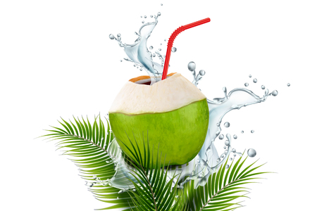 Illustration pour Coconut water with splashing drink and straw in 3d illustration on plam leaves white background - image libre de droit