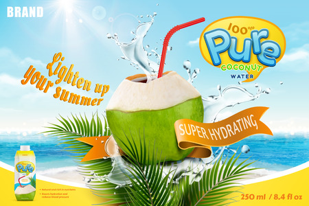 Ilustración de Coconut water with refreshing liquid splashing out from the fruit with red straw - Imagen libre de derechos