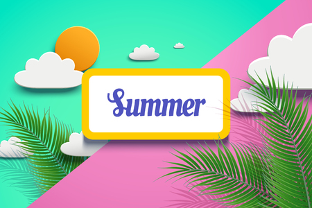 Illustration for Vivid summer design in paper art with palm tree leaves and sun on geometric background in 3d illustration - Royalty Free Image