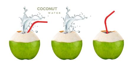 Ilustración de Coconut water set with splashing drink and straw in 3d illustration on white background - Imagen libre de derechos