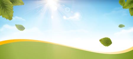 Illustration pour Blue sky and green leaves banner design in 3d illustration - image libre de droit