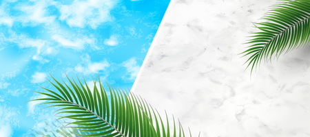 Ilustración de Summer swimming pool background with palm tree leaves and marble stone texture in 3d illustration - Imagen libre de derechos
