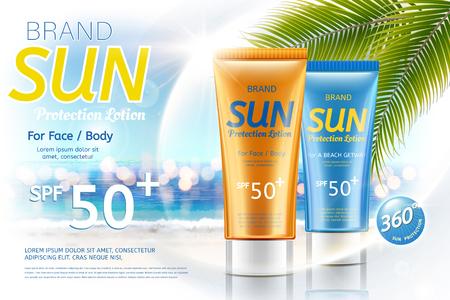 Ilustración de Sunscreen tube product on bokeh summer resort background in 3d illustration - Imagen libre de derechos