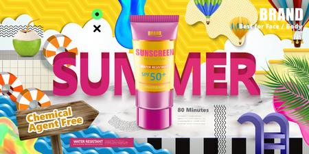 Illustration pour Sunscreen tube on colorful paper cut summer scene in 3d illustration - image libre de droit